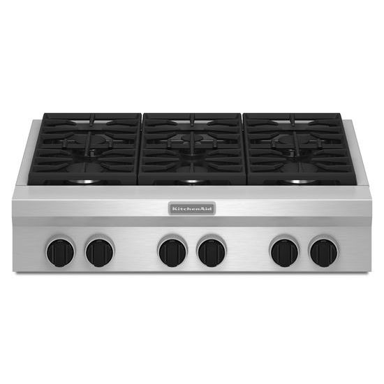 Model: KGCU467VSS | KitchenAid 36-Inch 6 Burner Gas Rangetop, Commercial-Style