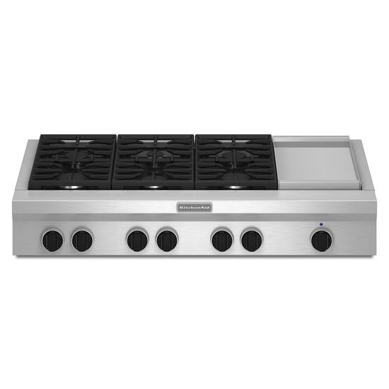 KitchenAid 48-Inch 6 Burner with Griddle, Gas Rangetop, Commercial-Style