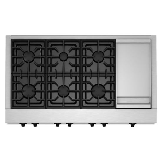 Model: KGCU483VSS | 48-Inch 6 Burner with Griddle, Gas Rangetop, Commercial-Style