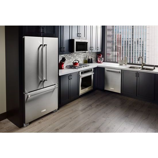 Model: KRFC300ESS | KitchenAid 20 cu. ft. 36-Inch Width Counter-Depth French Door Refrigerator with Interior Dispense