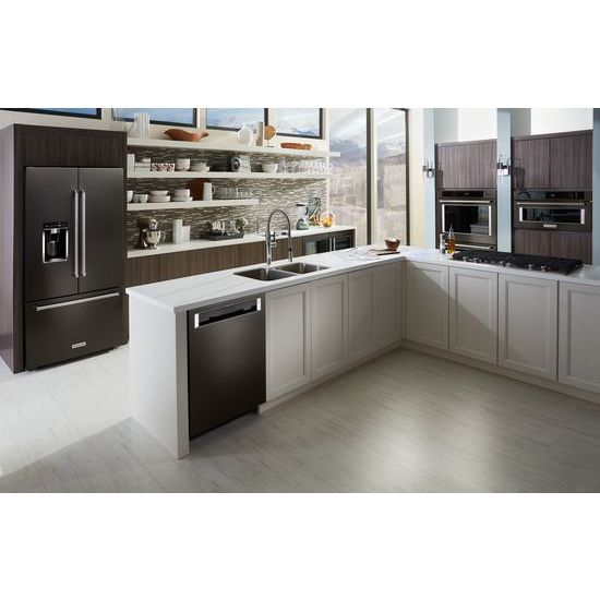 "Model: KRFC704FBS | KitchenAid 23.8 cu. ft. 36"" Counter-Depth French Door Platinum Interior Refrigerator with PrintShield™ Finish"