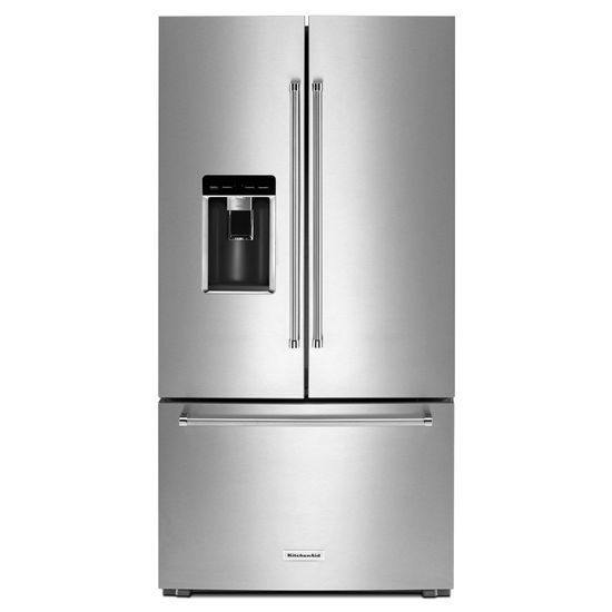 "KitchenAid 23.8 cu. ft. 36"" Counter-Depth French Door Platinum Interior Refrigerator"