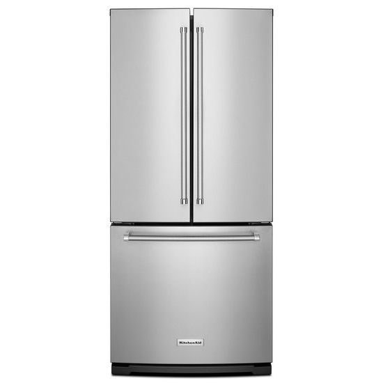 KitchenAid 20 cu. Ft. 30-Inch Width Standard Depth French Door Refrigerator with Interior Dispense