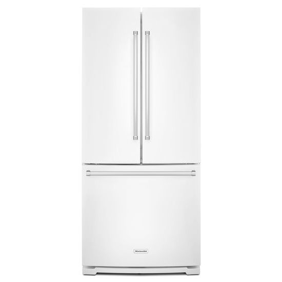 Model: KRFF300EWH | KitchenAid 20 cu. Ft. 30-Inch Width Standard Depth French Door Refrigerator with Interior Dispense