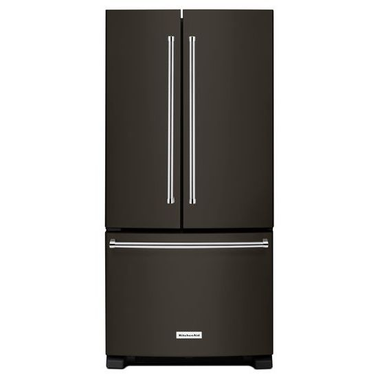 Model: KRFF302EBS | KitchenAid 22 Cu. Ft. 33-Inch Width Standard Depth French Door Refrigerator with Interior Dispense