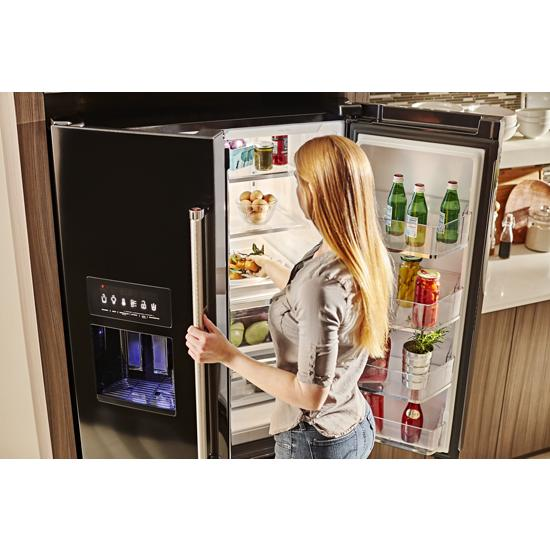Model: KRFF507HBL | 26.8 cu. ft. 36-Inch Width Standard Depth French Door Refrigerator with Exterior Ice and Water