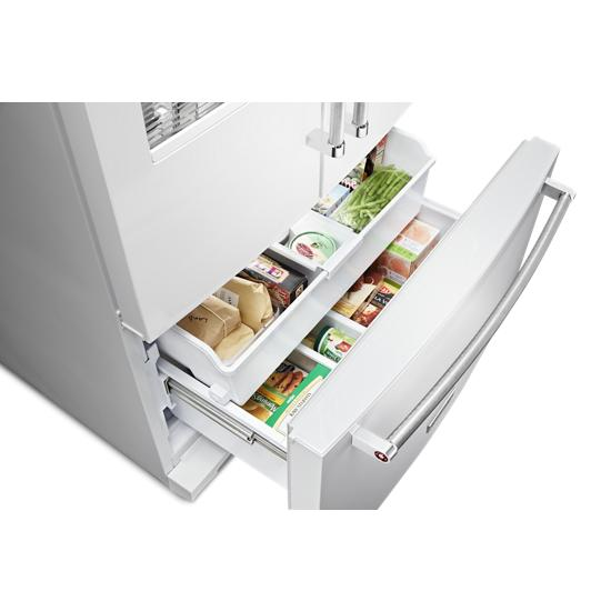 Model: KRFF507HWH | 26.8 cu. ft. 36-Inch Width Standard Depth French Door Refrigerator with Exterior Ice and Water