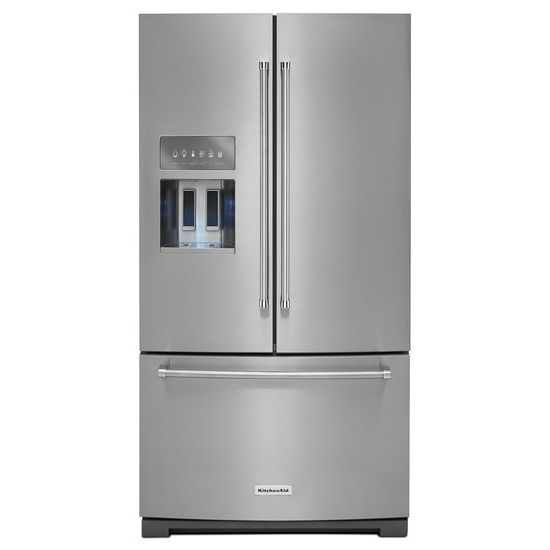 Model: KRFF707ESS | 26.8 cu. ft. 36-Inch Width Standard Depth French Door Refrigerator with Exterior Ice and Water Platinum Interior
