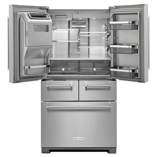 "Model: KRMF706ESS | KitchenAid 25.8 Cu. Ft. 36"" Multi-Door Freestanding Refrigerator with Platinum Interior Design"