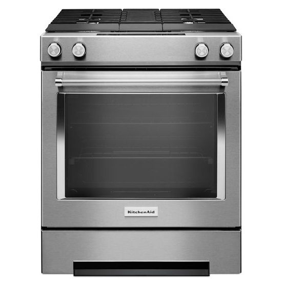 Model: KSDG950ESS | 30-Inch 4-Burner Dual Fuel Downdraft Slide-In Range