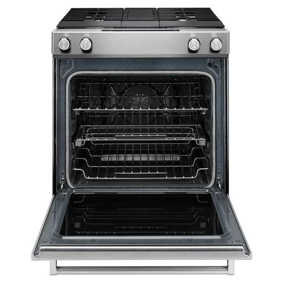 Model: KSDG950ESS | KitchenAid 30-Inch 4-Burner Dual Fuel Downdraft Slide-In Range