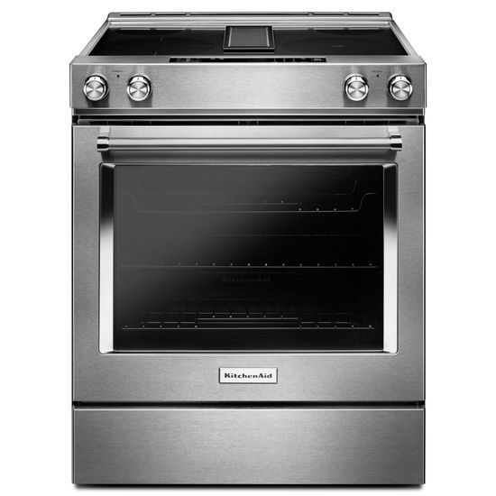 KitchenAid 30-Inch 4-Element Electric Downdraft Slide-In Range