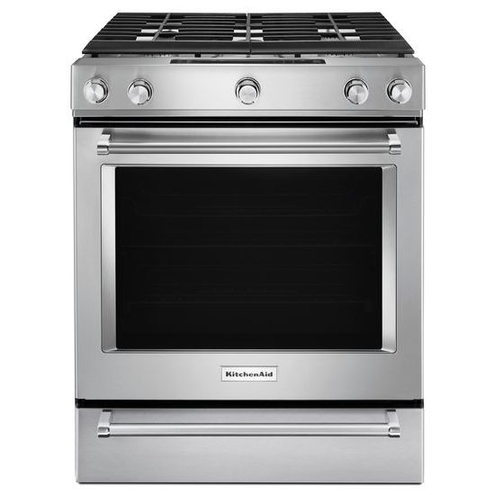 KitchenAid 30-Inch 5 Burner Gas Convection Slide-In Range with Baking Drawer