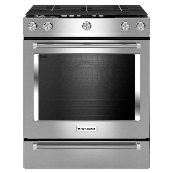 Model: KSGG700ESS | KitchenAid 30-Inch 5-Burner Gas Slide-In Convection Range