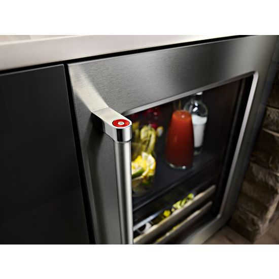 "Model: KUBR204ESB | KitchenAid 24"" Beverage Center with Glass Door and Wood-Front Racks"