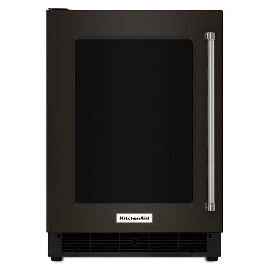 "Model: KURL304EBS | KitchenAid 24"" Undercounter Refrigerator with Glass Door and Metal Trim Shelves"