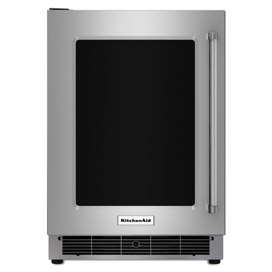 "Model: KURL304ESS | KitchenAid 24"" Undercounter Refrigerator with Glass Door and Metal Trim Shelves"
