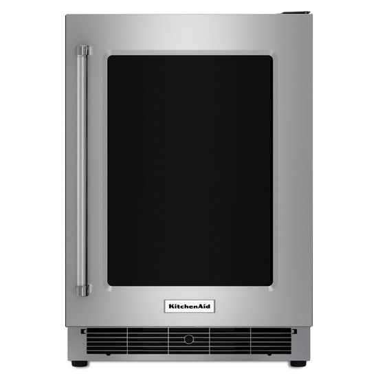 "KitchenAid 24"" Undercounter Refrigerator with Glass Door and Metal Trim Shelves"
