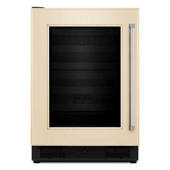 "Model: KUWL204EPA | KitchenAid 24"" Panel Ready Wine Cellar with Glass Door and Wood-Front Racks"