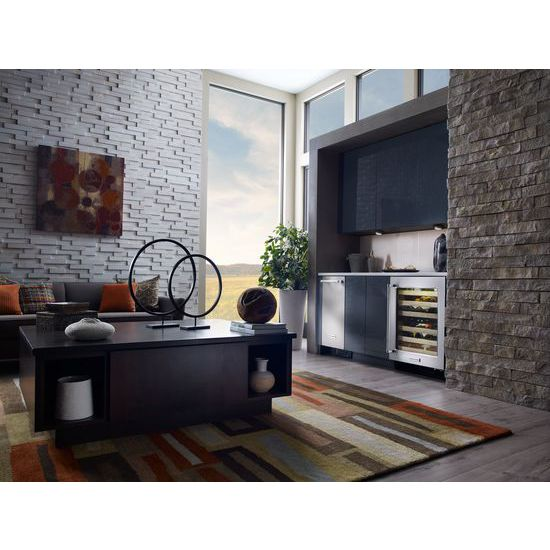 "Model: KUWL204ESB | KitchenAid 24"" Wine Cellar with Glass Door and Wood-Front Racks"