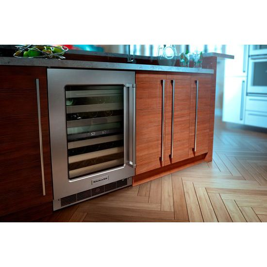 "Model: KUWL304ESS | KitchenAid 24"" Wine Cellar with Glass Door and Metal-Front Racks"
