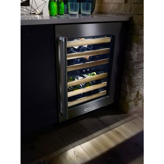"Model: KUWR204ESB | KitchenAid 24"" Wine Cellar with Glass Door and Wood-Front Racks"