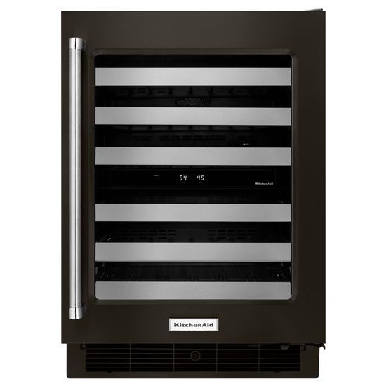 "Model: KUWR304EBS | KitchenAid 24"" Stainless Steel Wine Cellar with Metal-Front Racks"