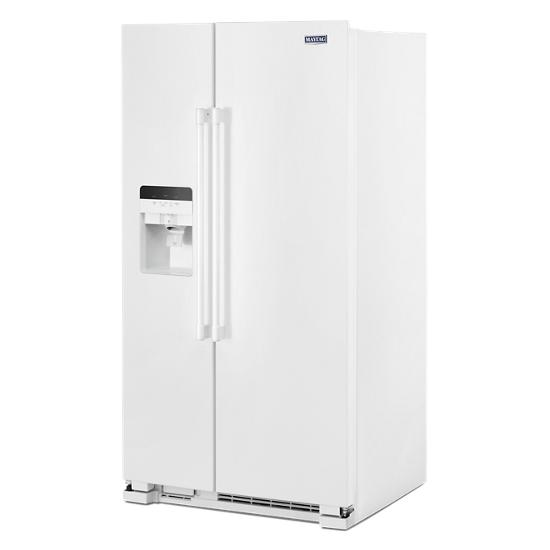 Maytag 36-Inch Wide Side-by-Side Refrigerator with Exterior Ice and Water Dispenser - 25 Cu. Ft.