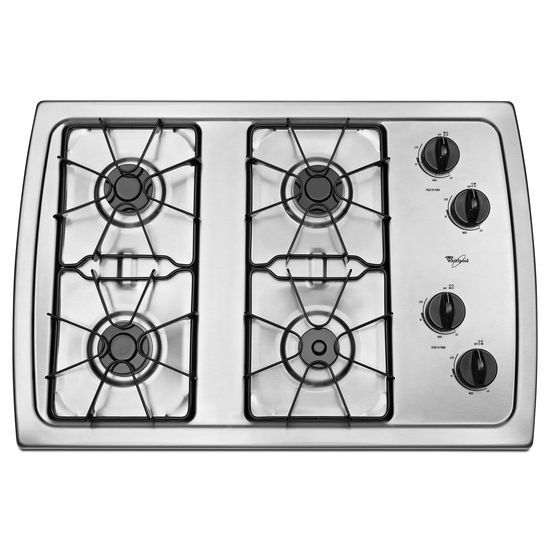 Model: W3CG3014XS | Whirlpool 30-inch Gas Cooktop with 5,000 BTU AccuSimmer® Burner