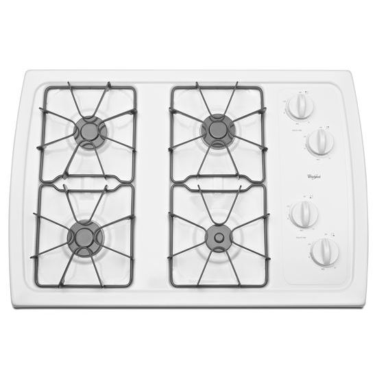 Model: W3CG3014XW | Whirlpool 30-inch Gas Cooktop with 5,000 BTU AccuSimmer® Burner