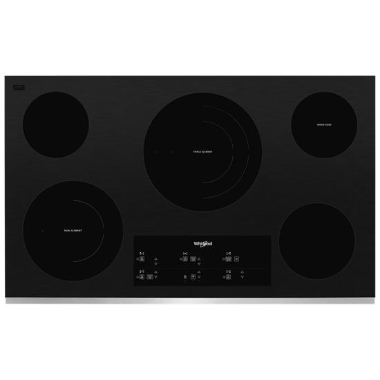 Whirlpool 36-inch Electric Ceramic Glass Cooktop with Triple Radiant Element