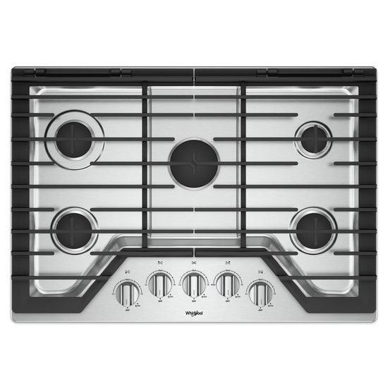 Model: WCG77US0HS | Whirlpool 30-inch Gas Cooktop with EZ-2-Lift™ Hinged Cast-Iron Grates