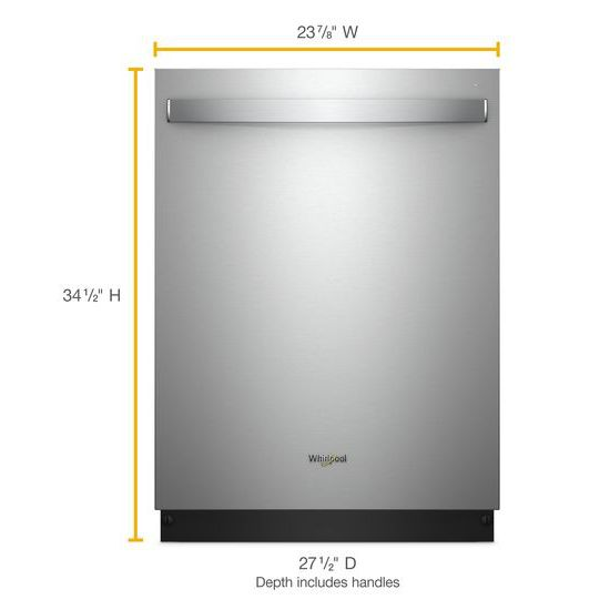 Model: WDT975SAHZ | Whirlpool Smart Dishwasher with Stainless Steel Tub