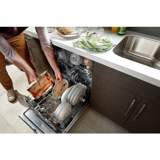 Model: WDTA50SAHB | Whirlpool Stainless Steel Tub Pocket Handle Dishwasher with TotalCoverage Spray Arm