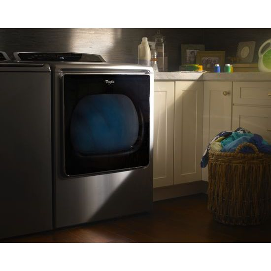 Model: WED8500DW | Whirlpool 8.8 cu.ft Top Load HE Electric Dryer with Intuitive Touch Controls, Steam Refresh