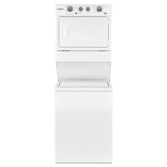 Model: WETLV27HW | Whirlpool 3.5 cu.ft Long Vent Electric Stacked Laundry Center 9 Wash cycles and AutoDry™