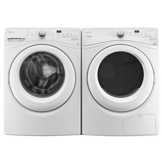 Model: WFW7590FW | Whirlpool 4.2 cu.ft Compact Front Load Washer with Adaptive Wash Technology, 8 cycles