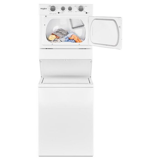 Model: WGTLV27HW | Whirlpool 3.5 cu.ft Long Vent Gas Stacked Laundry Center 9 Wash cycles and Wrinkle Shield™