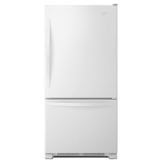 Model: WRB322DMBW | Whirlpool 33-inches wide Bottom-Freezer Refrigerator with SpillGuard™ Glass Shelves - 22 cu. ft