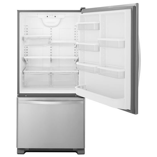 Model: WRB329DMBM | Whirlpool 30-inches wide Bottom-Freezer Refrigerator with SpillGuard™ Glass Shelves - 18.7 cu. ft.
