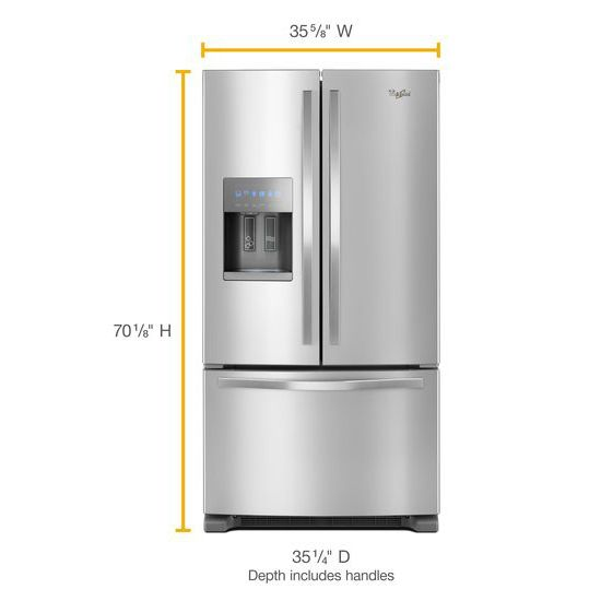Model: WRF555SDFZ | Whirlpool 36-inch Wide French Door Refrigerator - 25 cu. ft.
