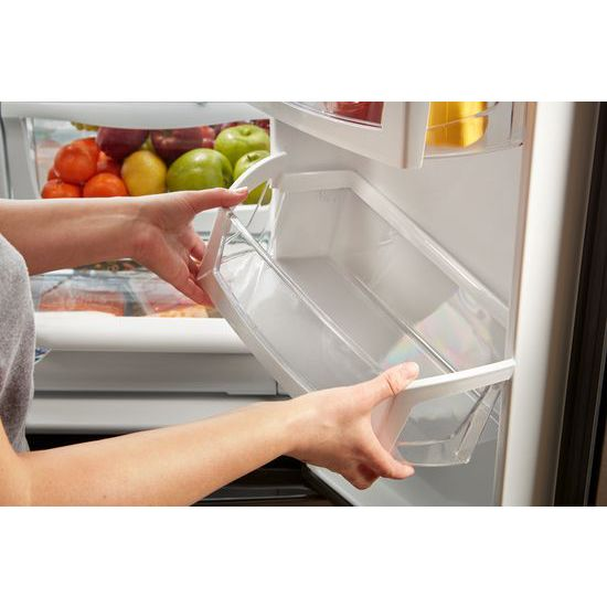 Model: WRF555SDHV | 36-inch Wide French Door Refrigerator in Fingerprint-Resistant Stainless Steel - 25 cu. ft.