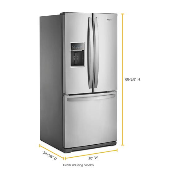 Model: WRF560SEHZ | Whirlpool 30-inch Wide French Door Refrigerator - 20 cu. ft.