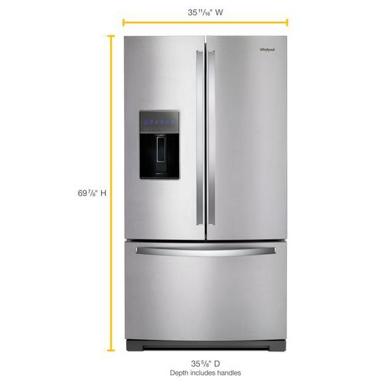 Model: WRF757SDHZ | Whirlpool 36-inch Wide French Door Refrigerator - 27 cu. ft.