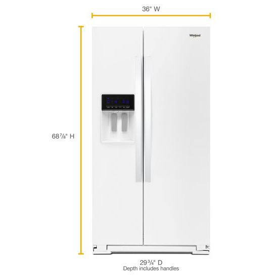 Model: WRS571CIHW | Whirlpool 36-inch Wide Counter Depth Side-by-Side Refrigerator - 21 cu. ft.