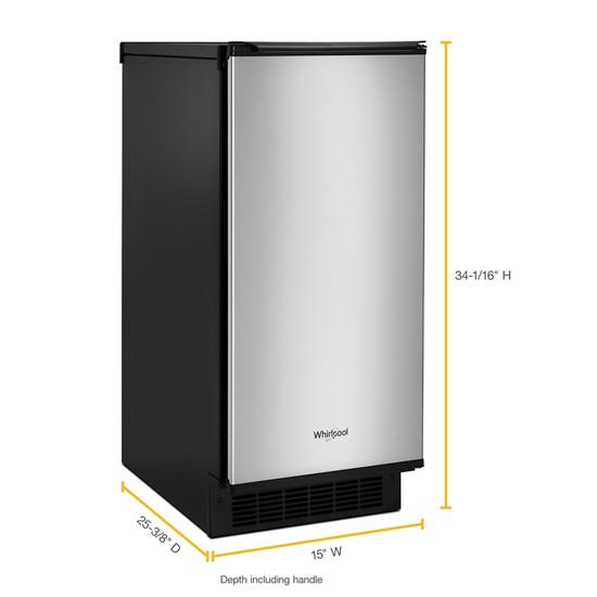 Model: WUI75X15HZ | Whirlpool 15-inch Icemaker with Clear Ice Technology