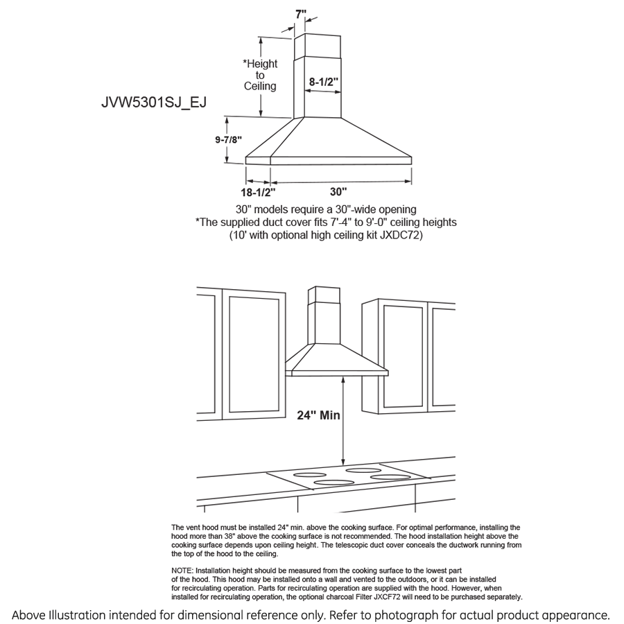 "Model: JVW5301EJES | GE GE® 30"" Wall-Mount Pyramid Chimney Hood"