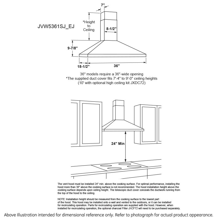 "Model: JVW5361SJSS | GE GE® 36"" Wall-Mount Pyramid Chimney Hood"