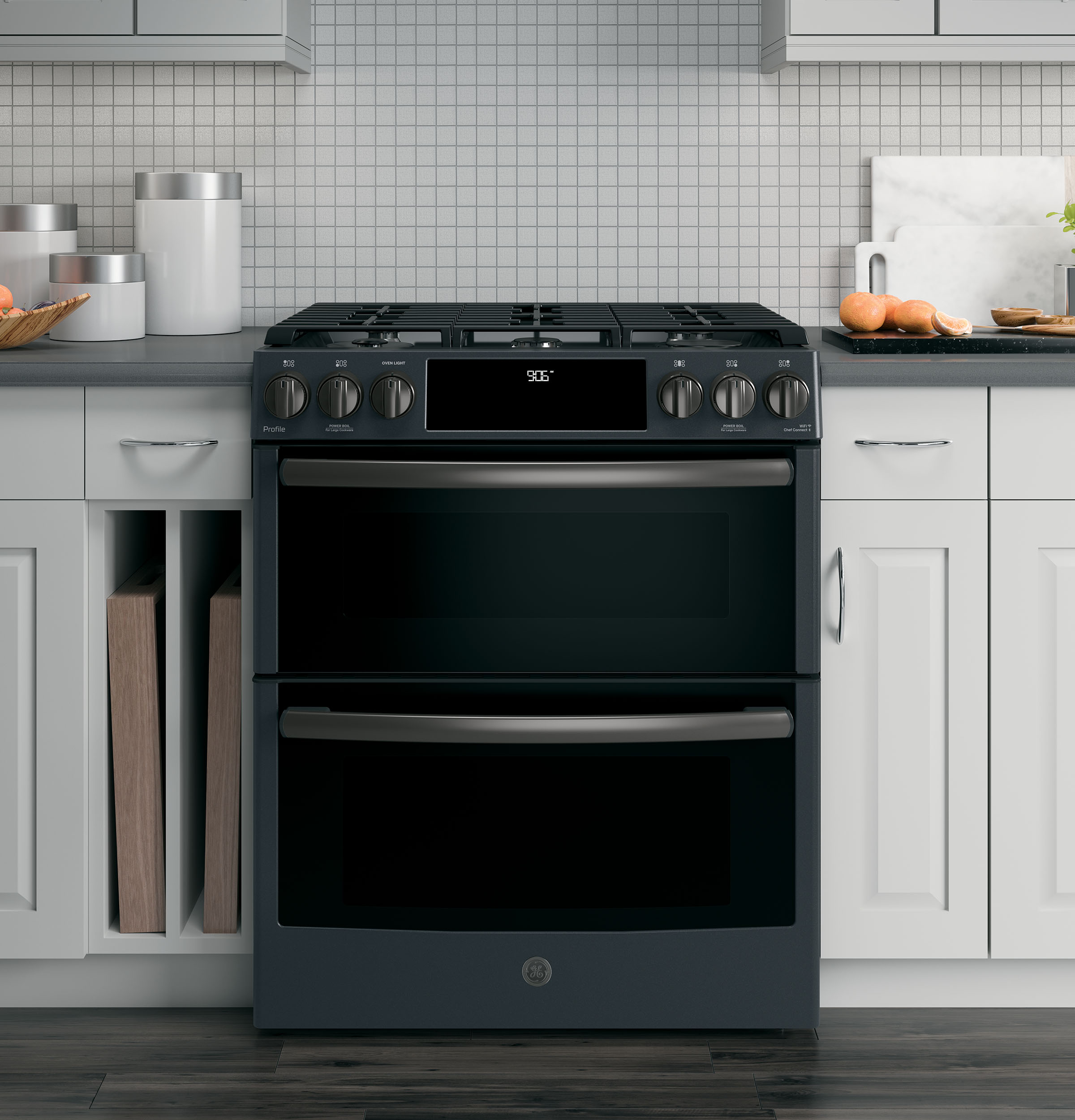 """Profile GE Profile™ 30"""" Smart Slide-In Front-Control Gas Double Oven Convection Range"""