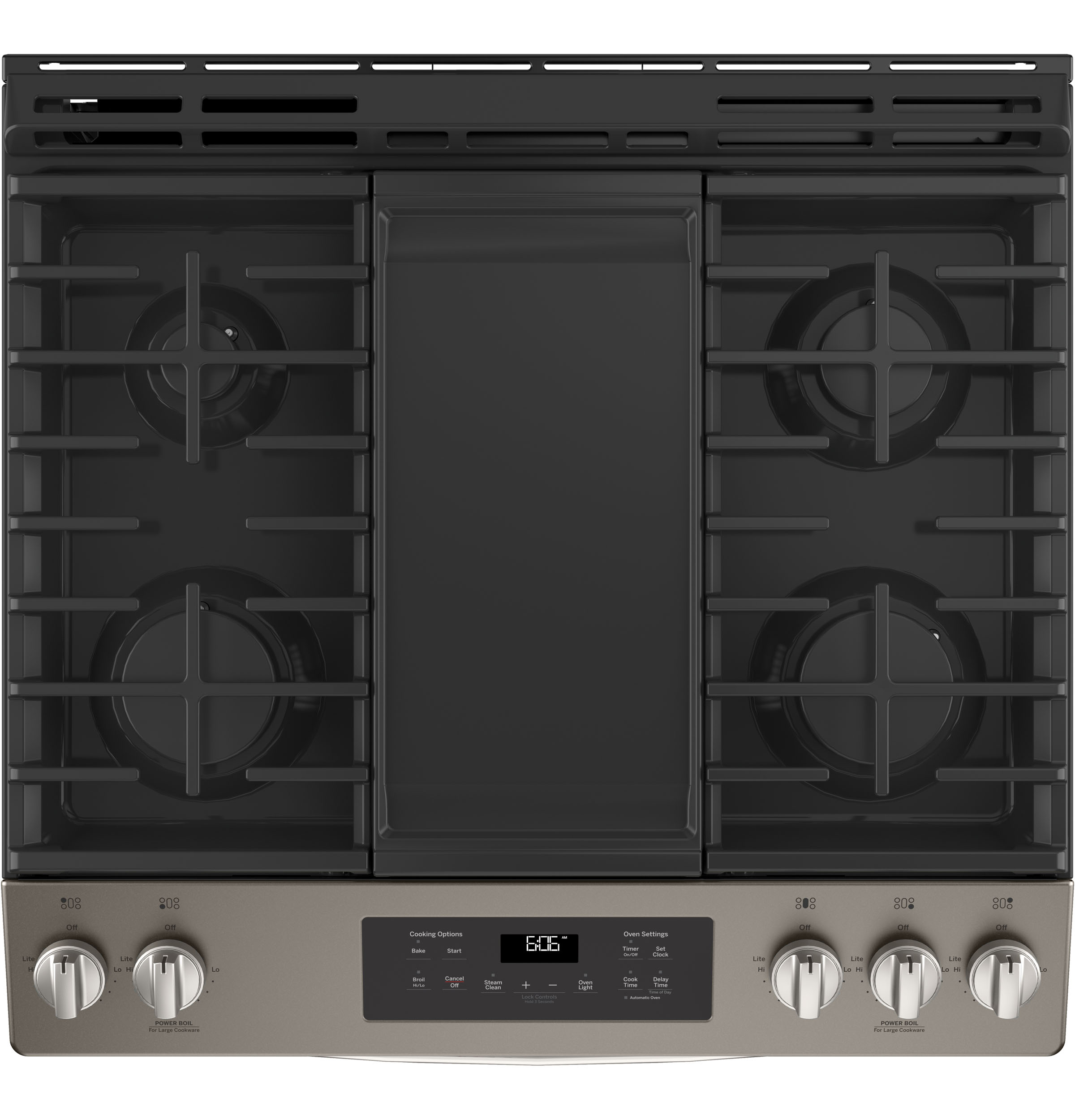 "Model: JGSS66EELES | GE GE® 30"" Slide-In Front Control Gas Range"